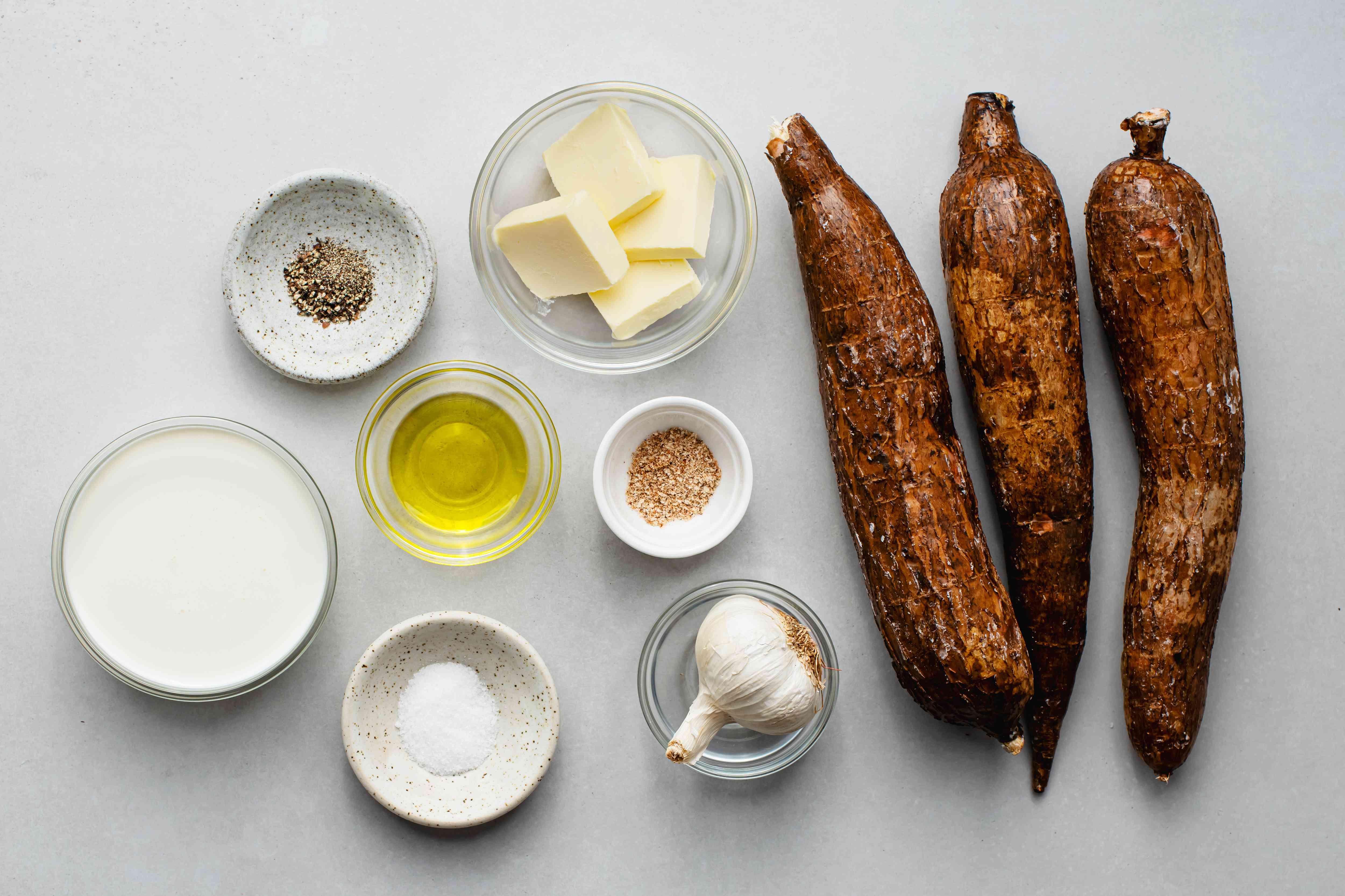 Creamed yuca (cassava) with roasted garlic ingredients