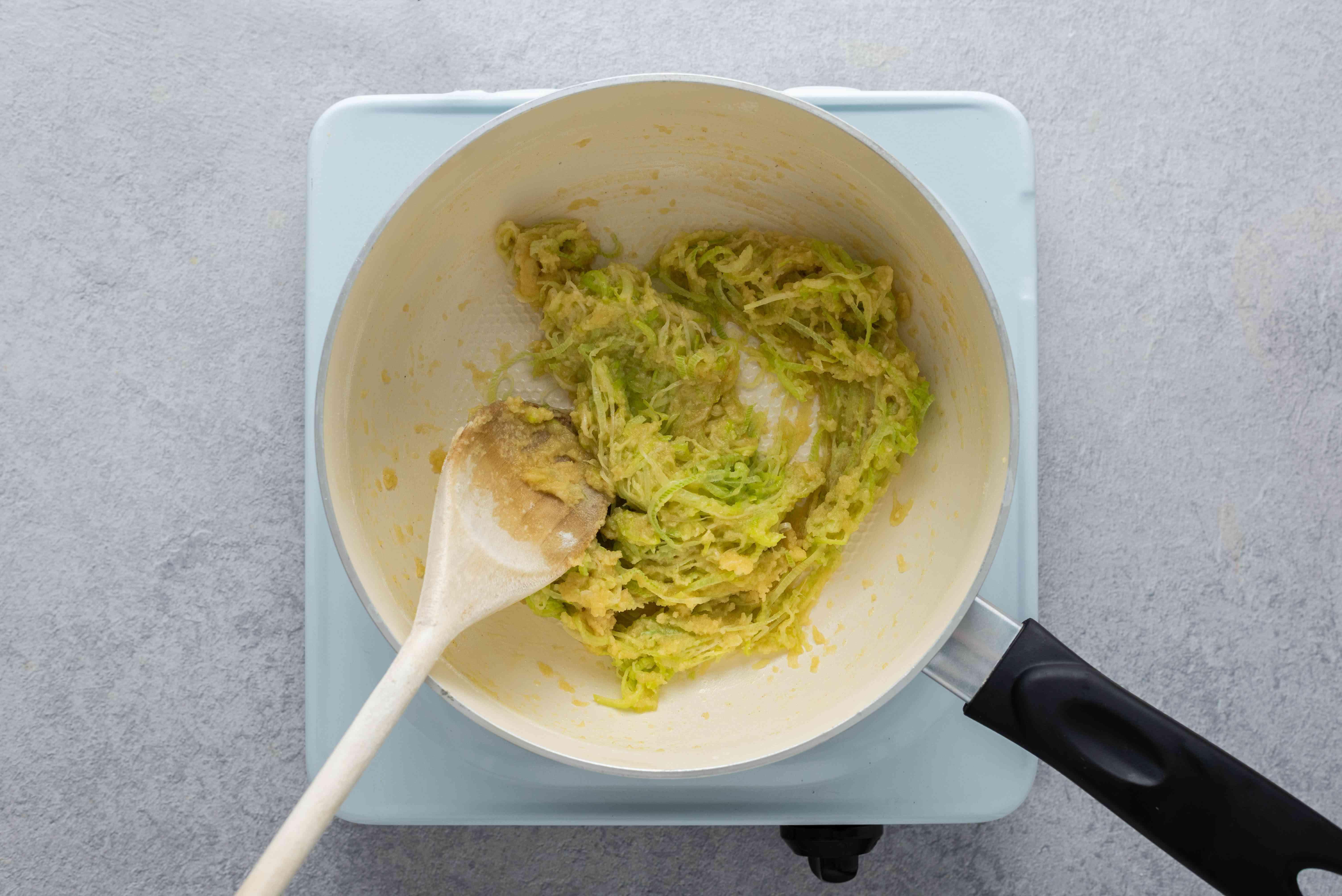 Flour and leek mixture in a saucepan