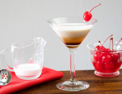 Angel's Tip (aka Ange's Tit) Cocktail With Dark Creme de Cacao