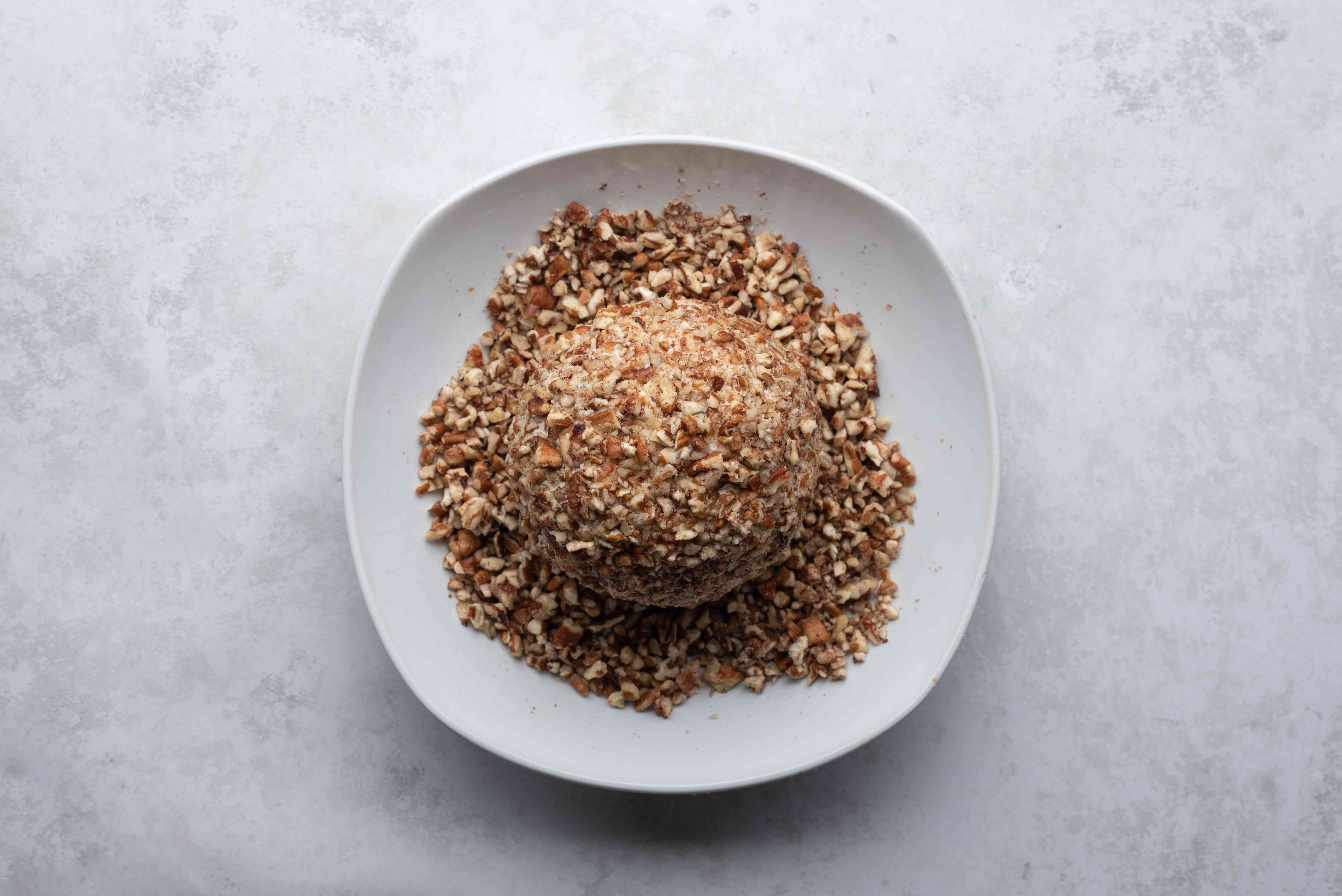 cheese ball covered with nuts