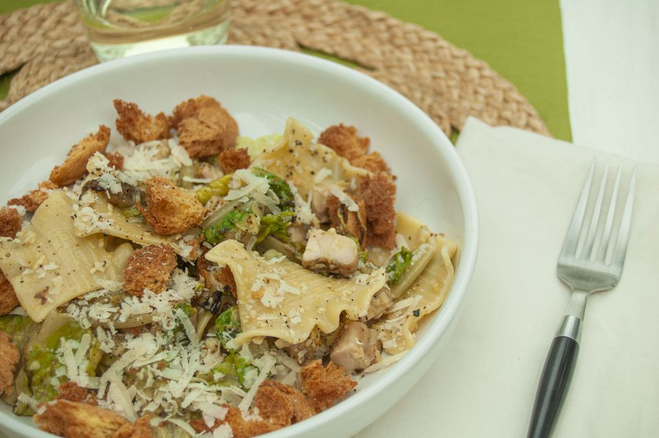 chicken caesar pasta salad with grilled romaine and stracci pasta