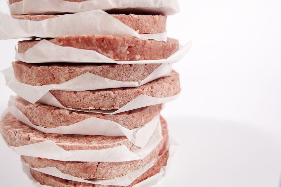 Frozen raw hamburgers