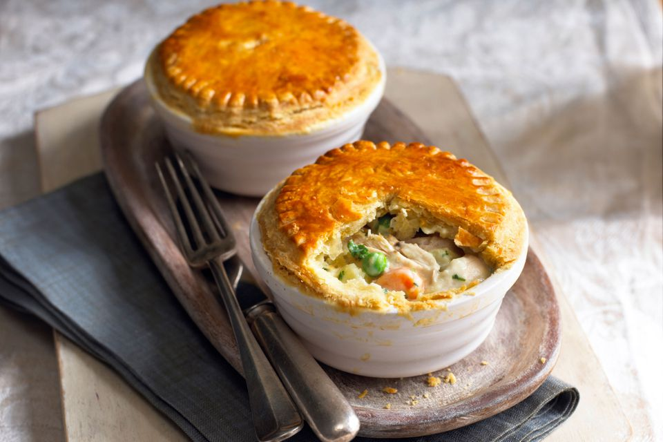 Two individual servings of chicken pot pie