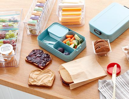 bento boxes and kids snacks organized using The Spruce and Lowe's organization line