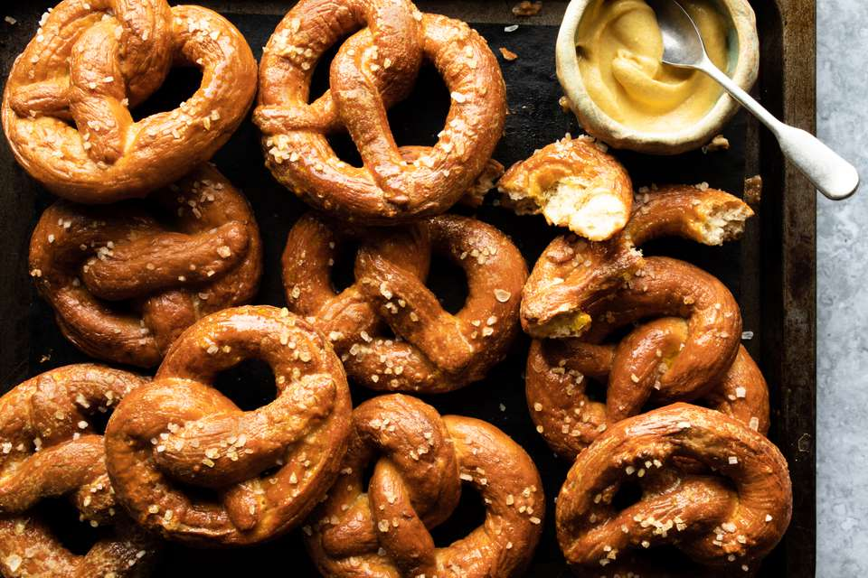 tray of homemade german pretzels
