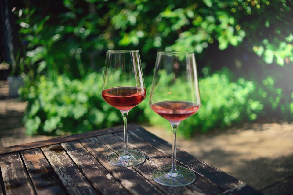 wine glasses on outdoor table
