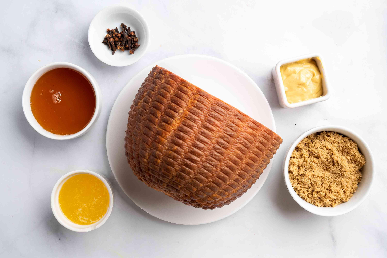 honey ham ingredients gathered