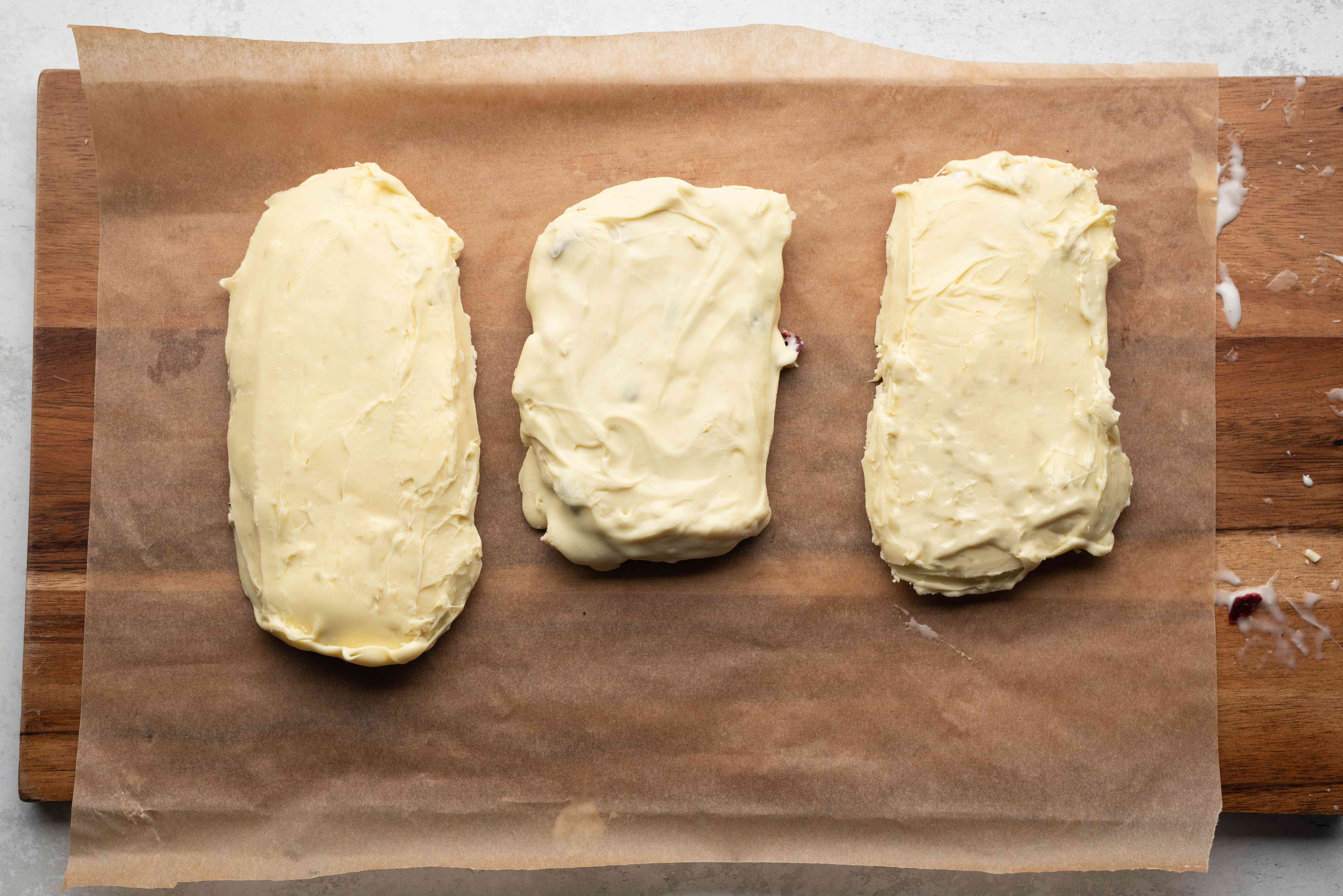 White Chocolate Nougat on parchment paper