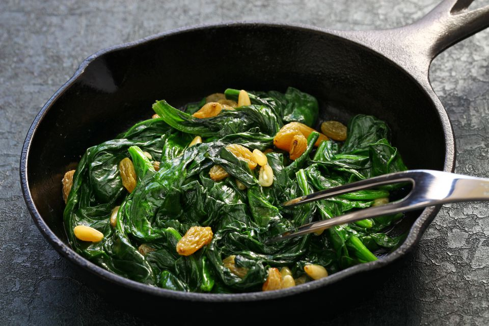 catalan spinach in cast iron skillet