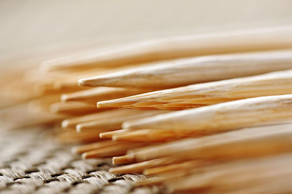 Close up of bamboo skewers