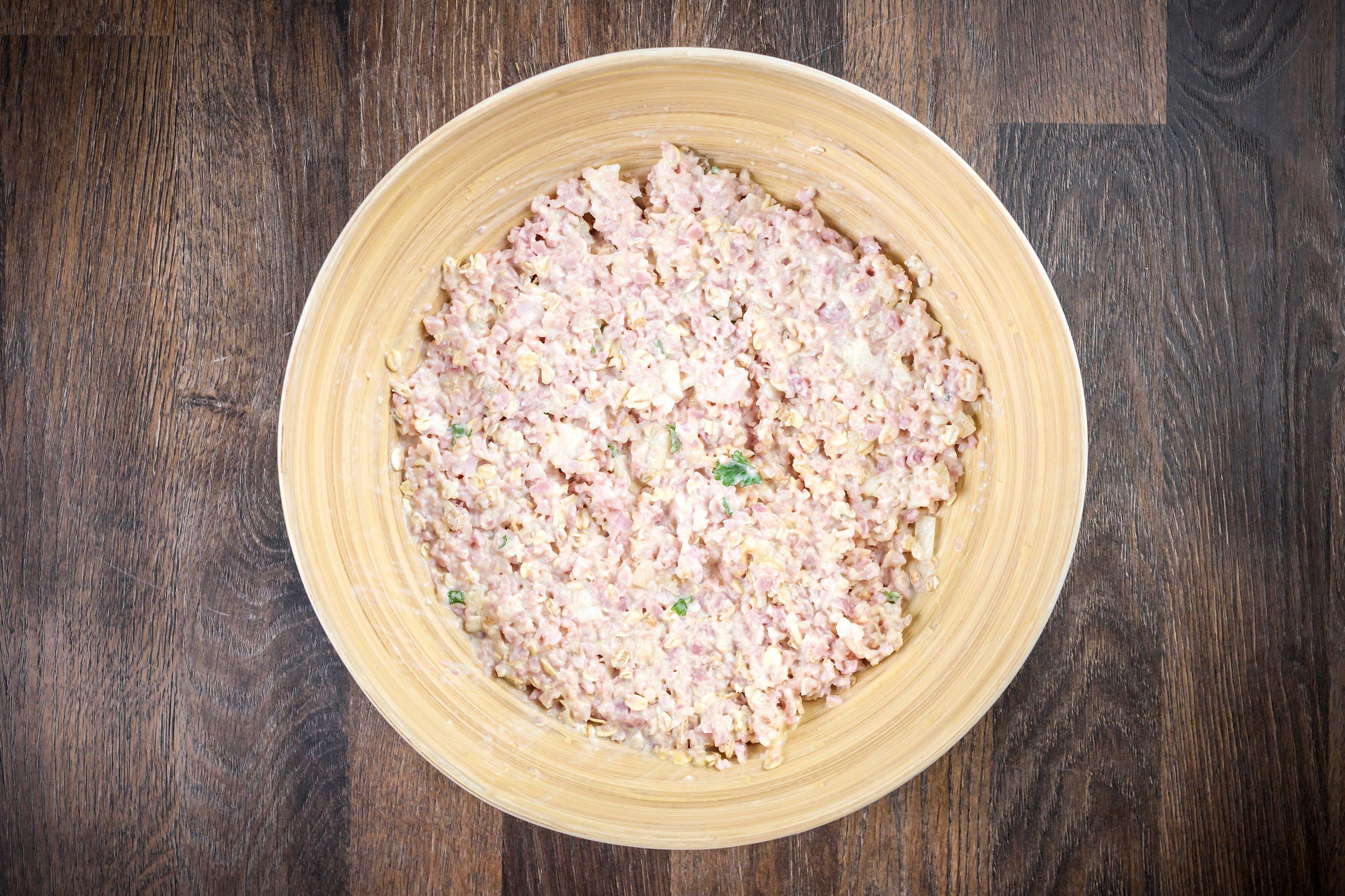 Combine ham, mustard in bowl