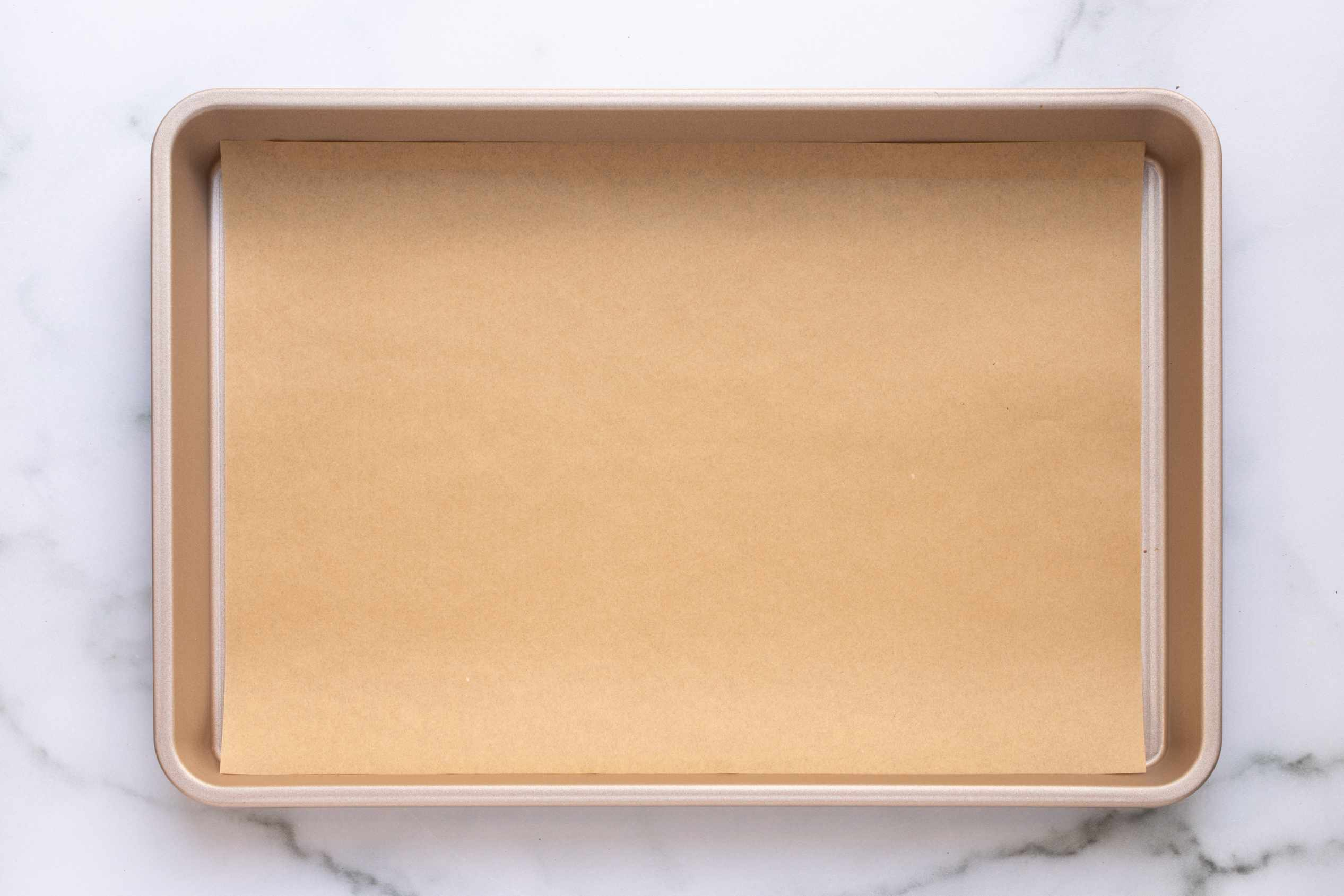parchment lined baking sheet pan