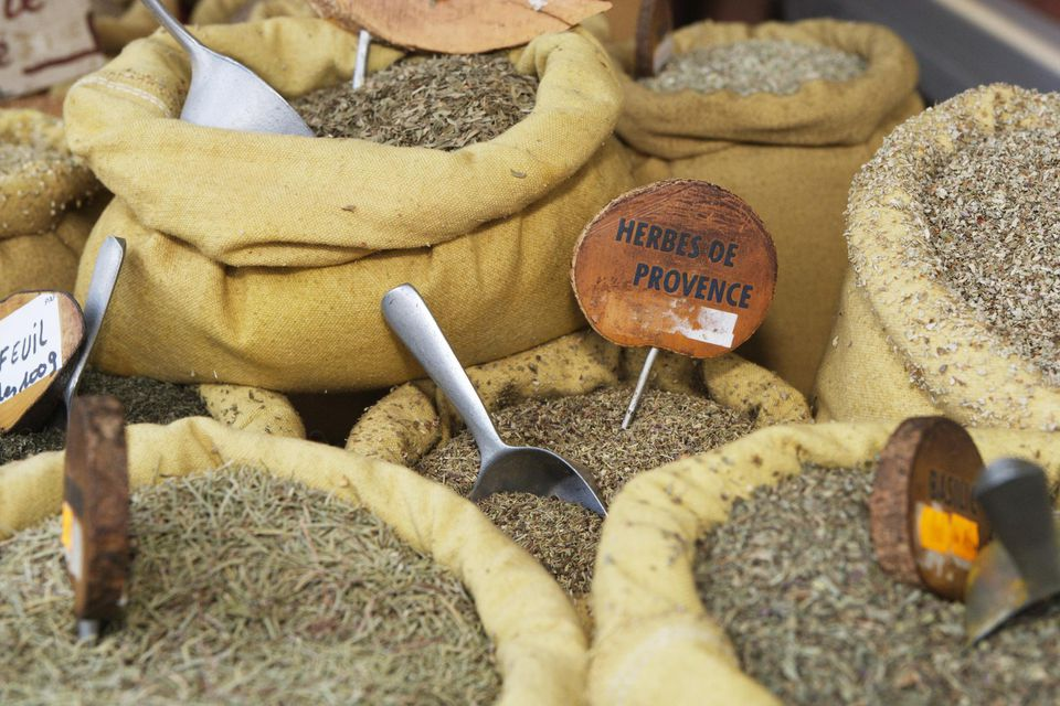 Herbes de Provence and various other herbs for sale at market