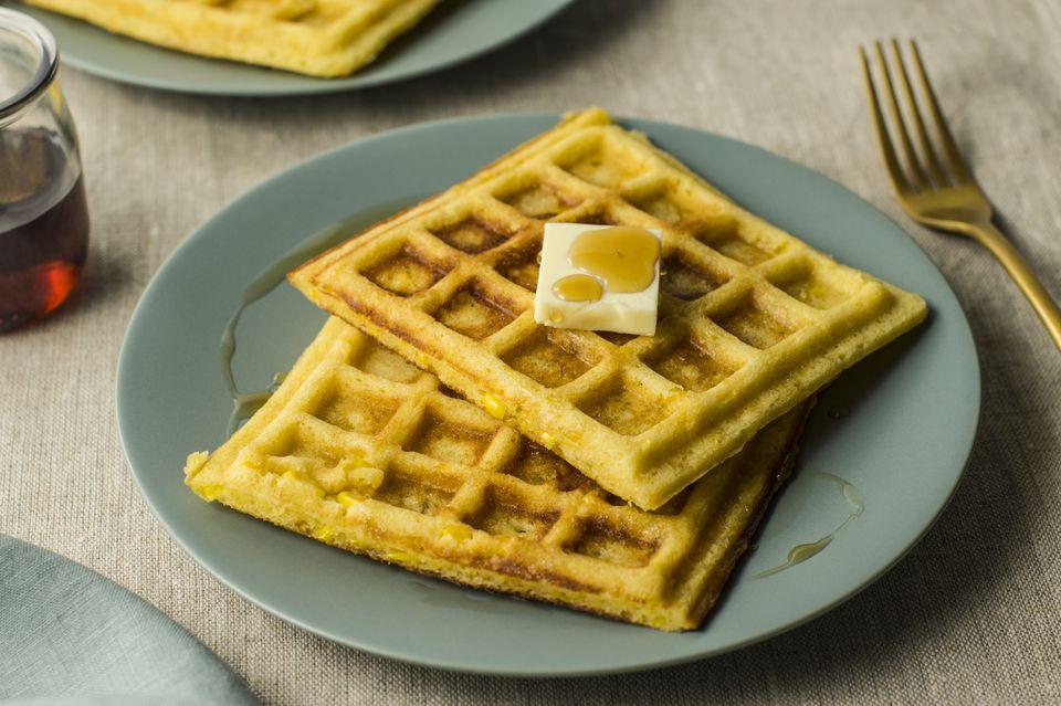 Waffles de maíz dulce