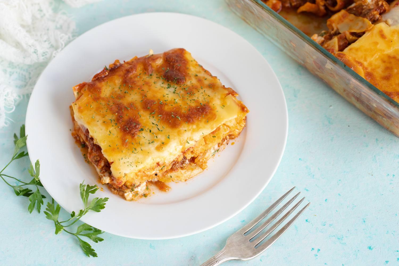 Homemade lasagna with meat sauce
