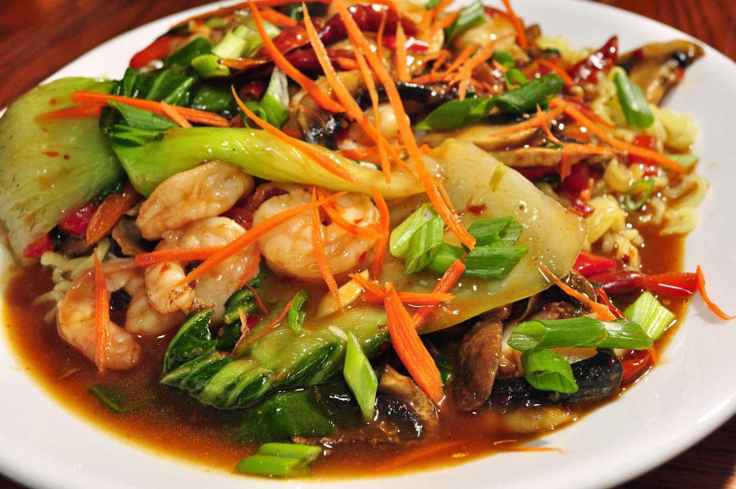 Shrimp With Chinese Greens Stir fry