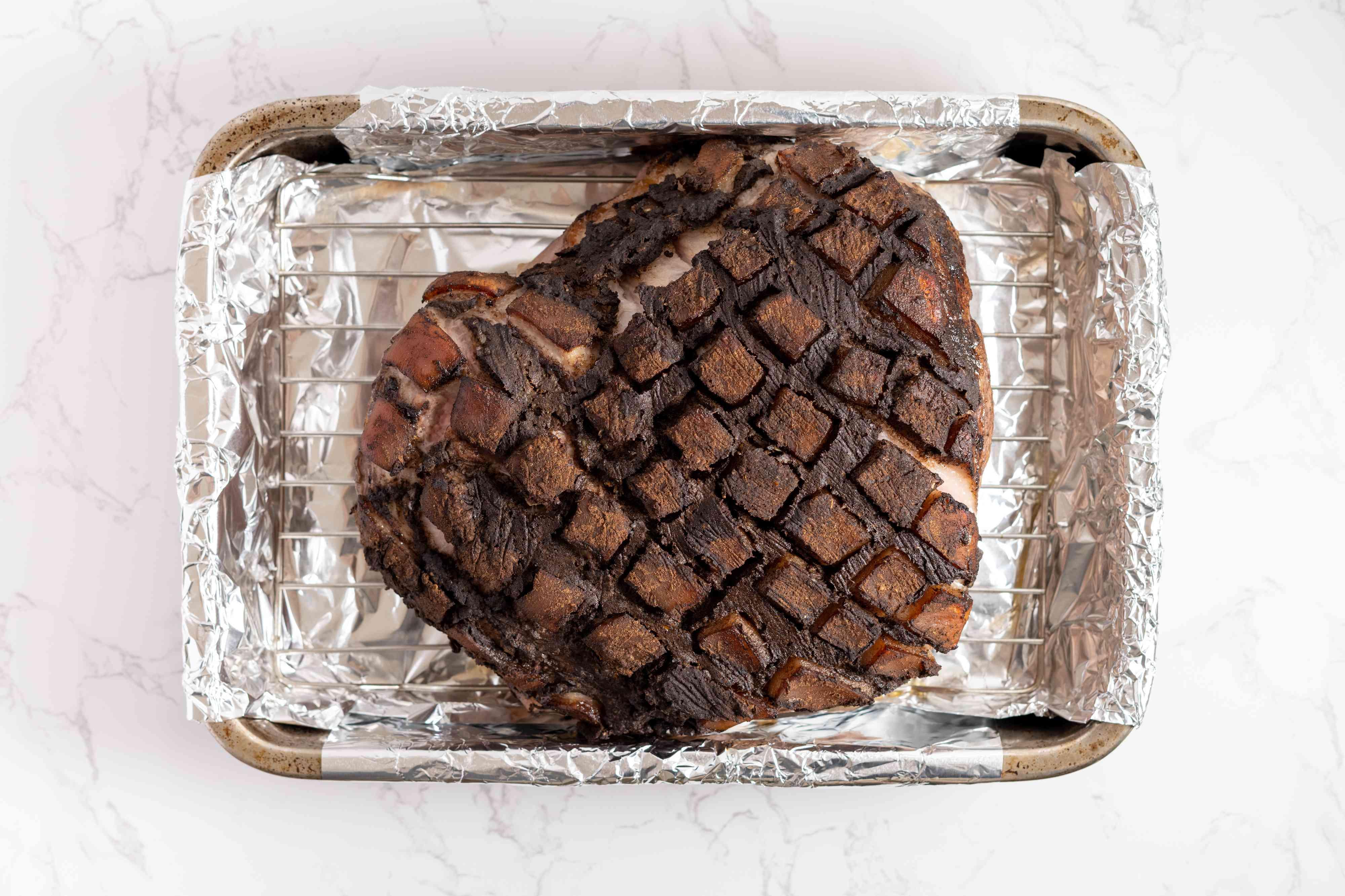 roasted pork in a roasting pan