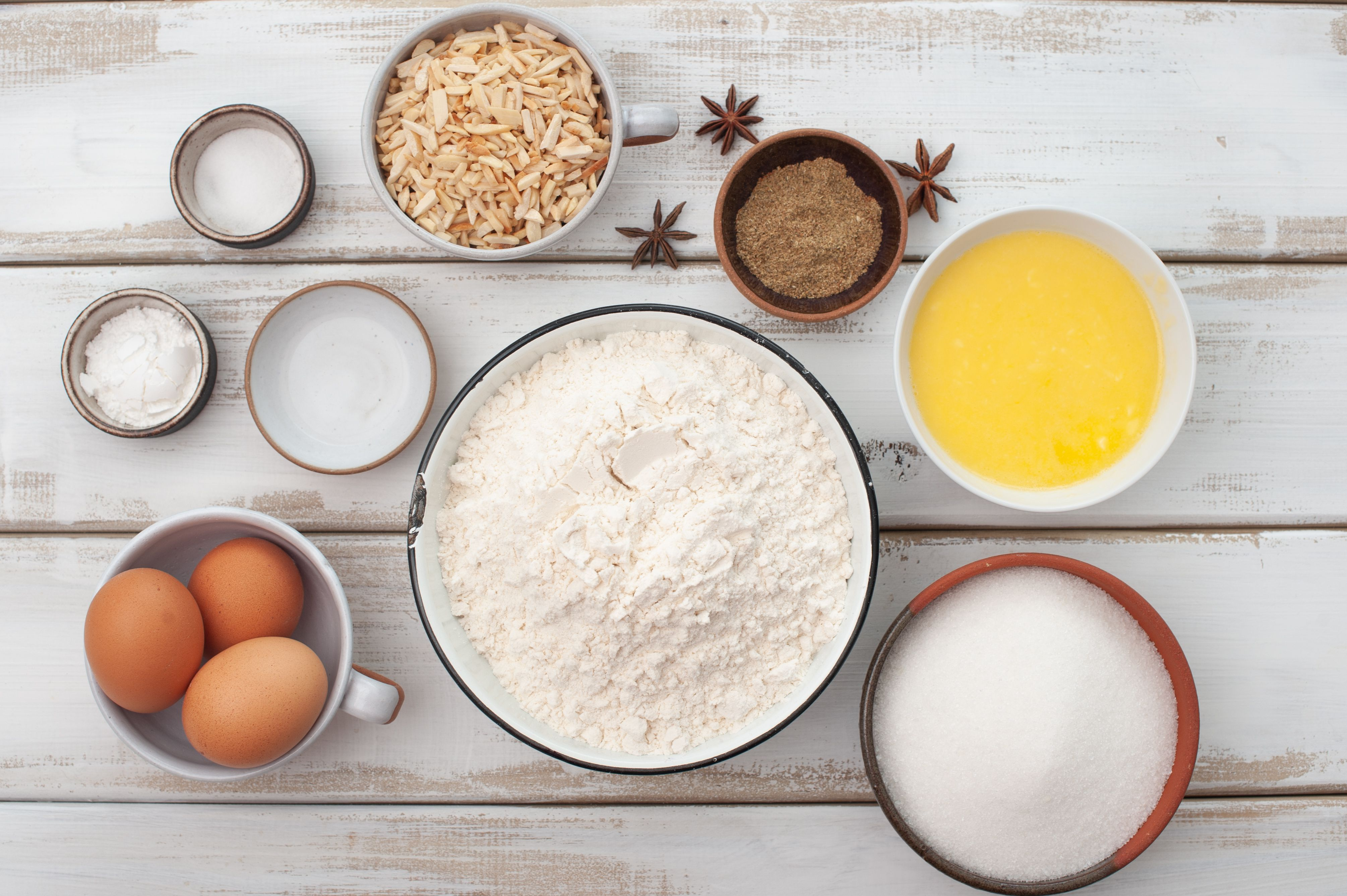 Ingredients for double anise biscotti