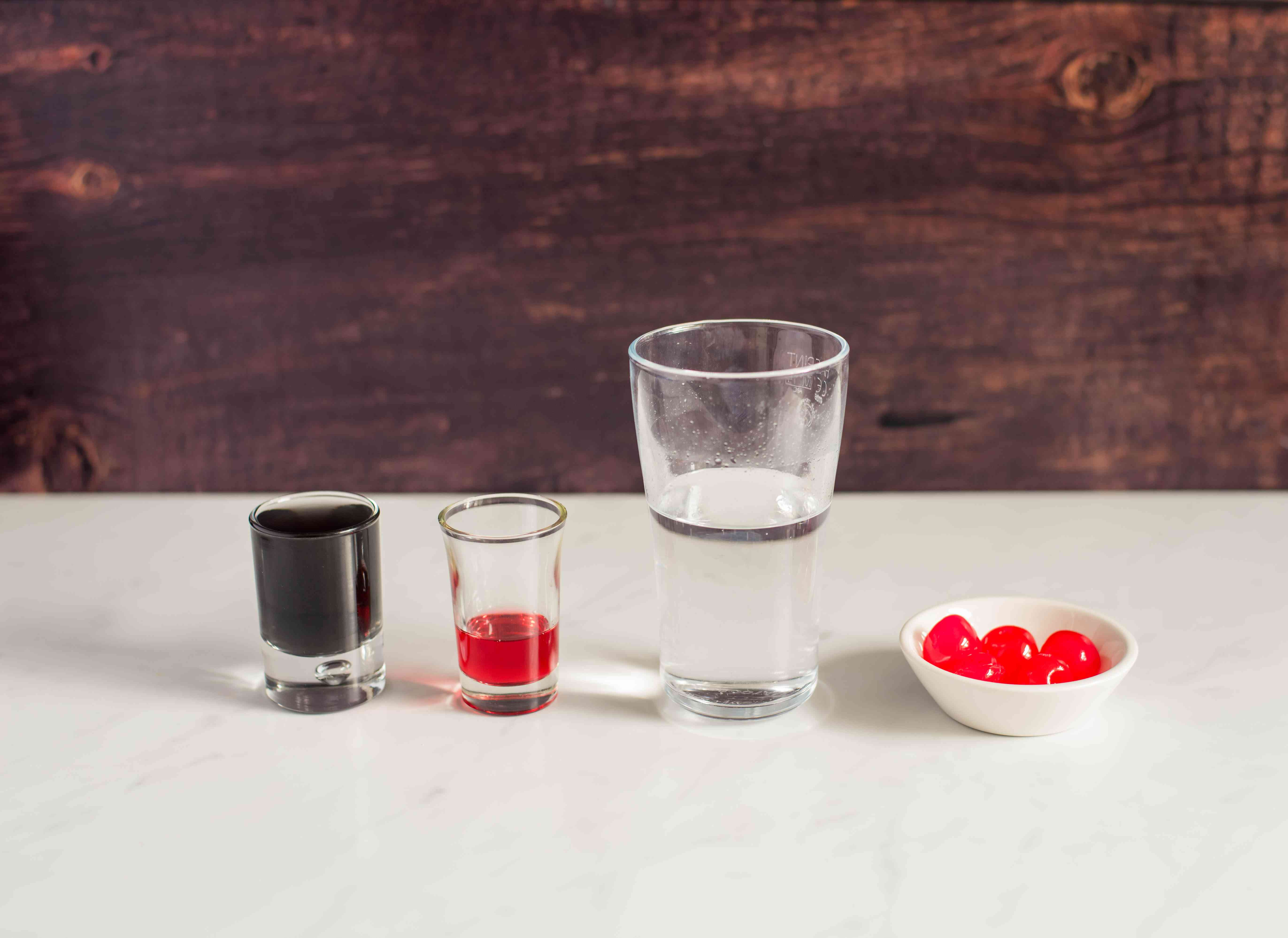 Ingredients for black magic cocktail