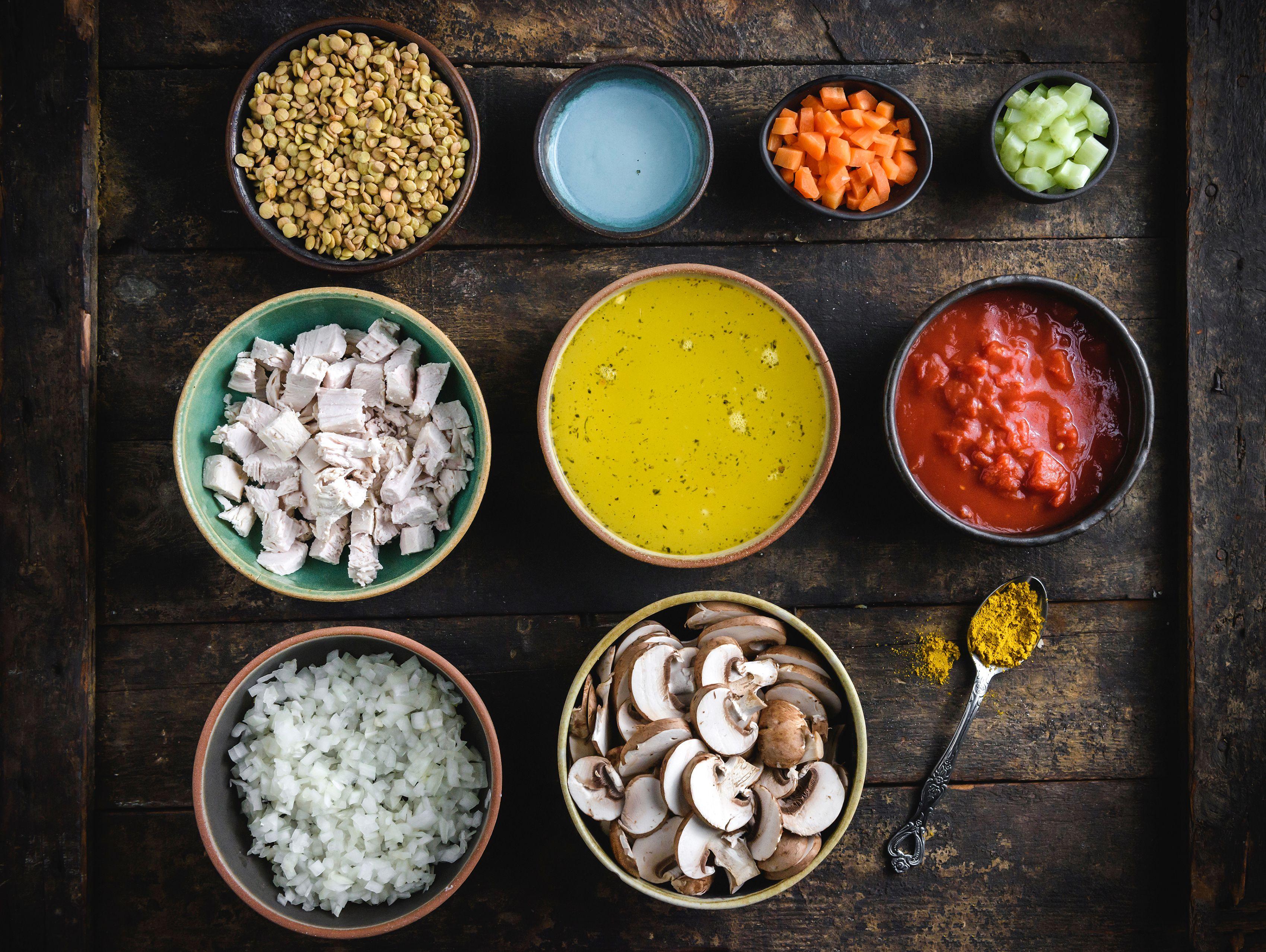 Gather the ingredients for turkey lentil soup