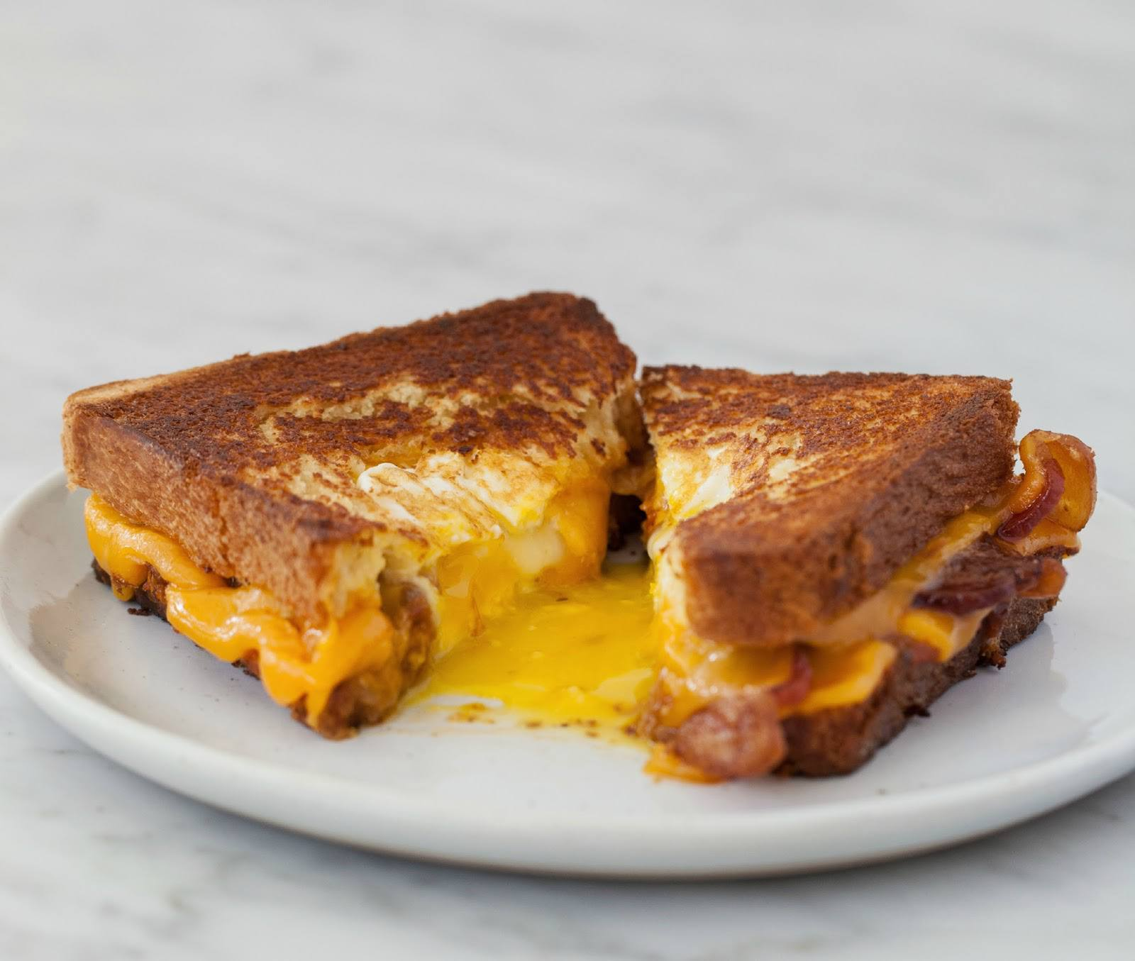Hole-in-one Grilled Cheese with Tomato Jam and Bacon