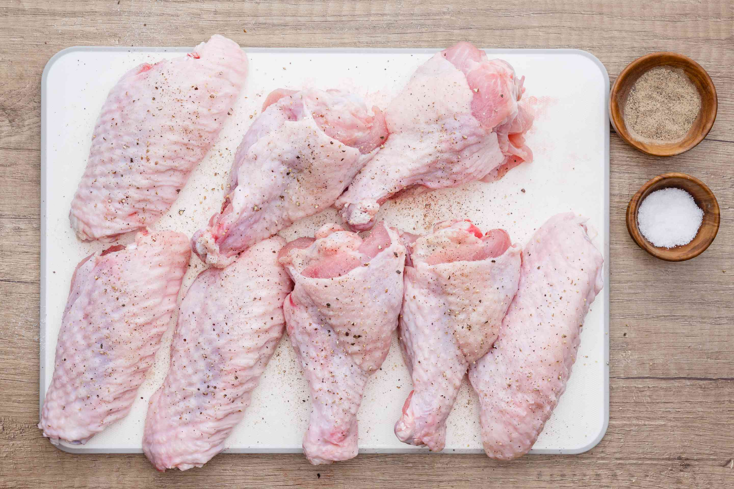 Turkey wings sprinkled with salt and pepper