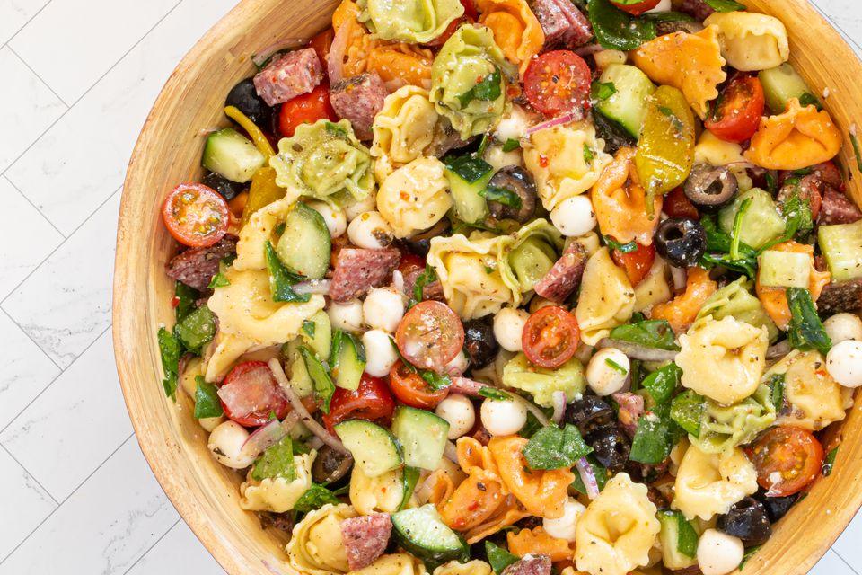 tortellini pasta salad closeup