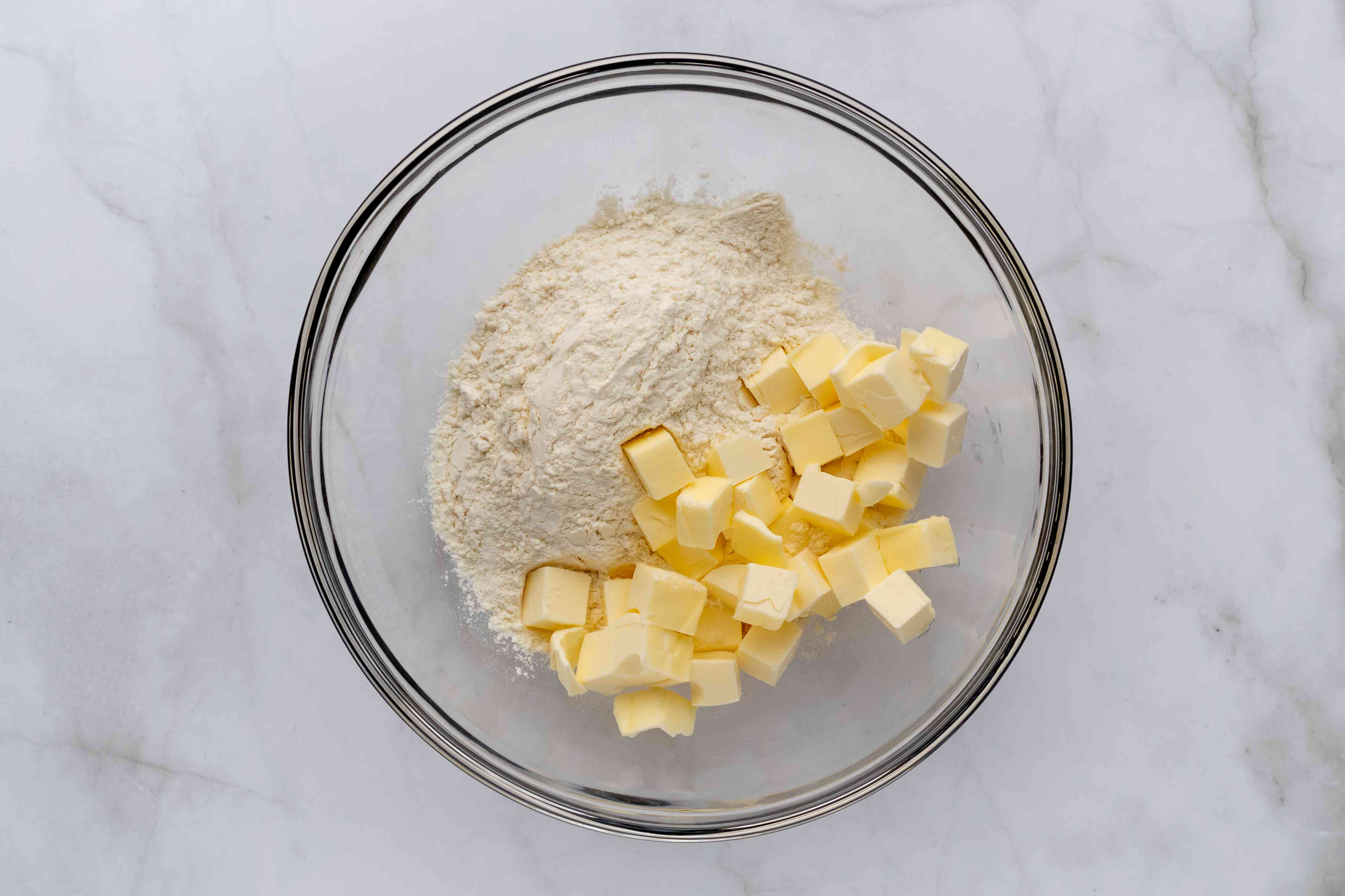 flour and butter in a bowl
