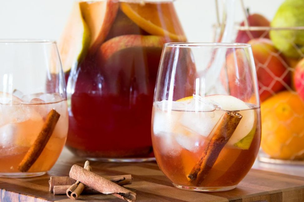 A glass of Thanksgiving fall sangria