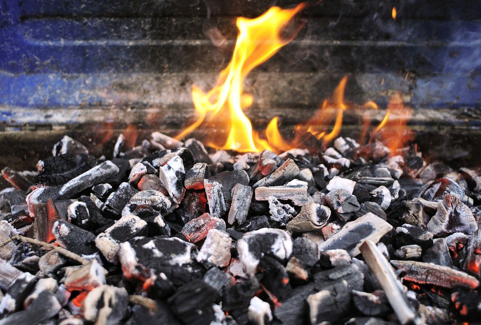 Lump charcoal burning in a fire