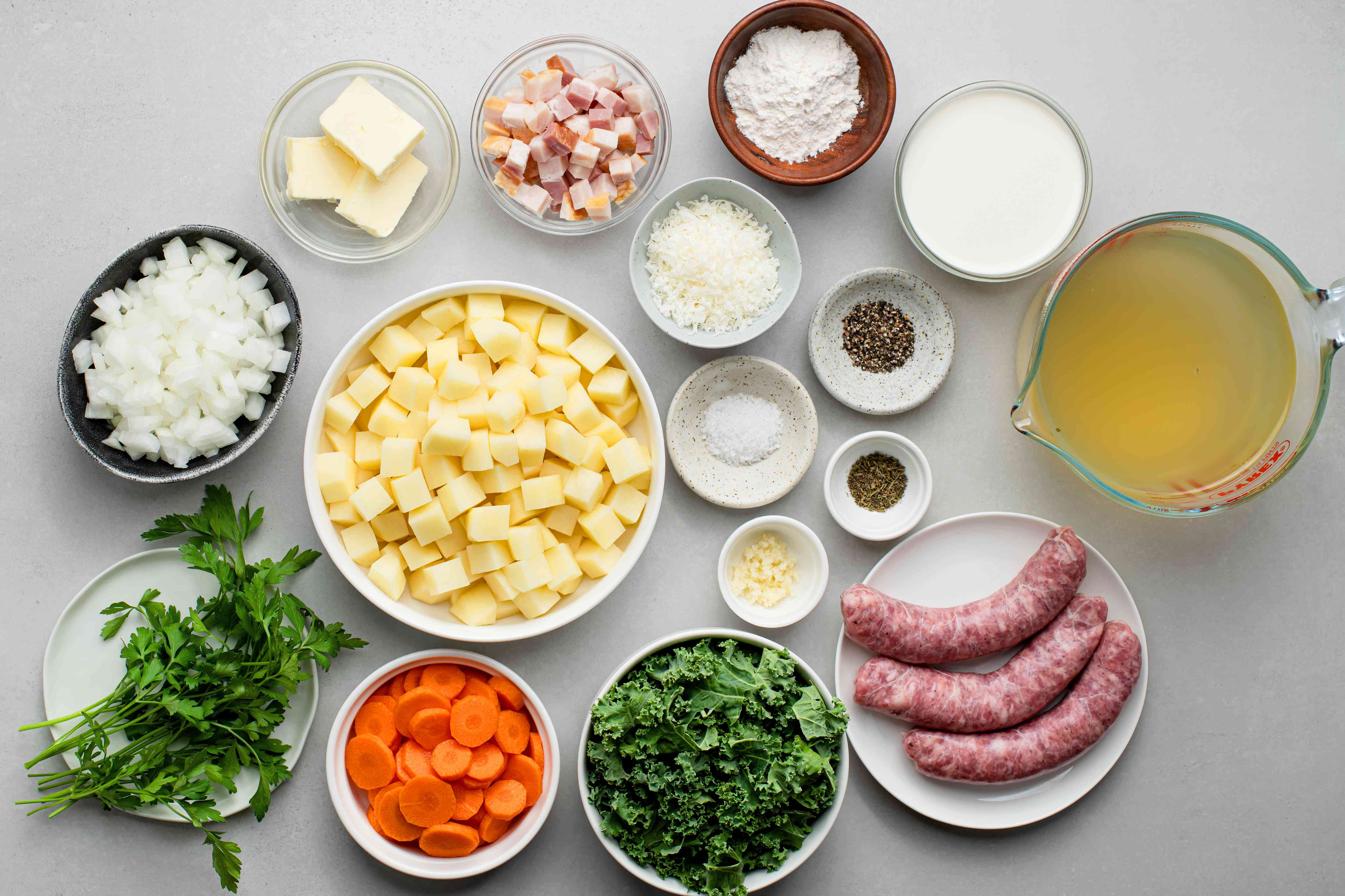 Sausage and Potato Soup With Kale ingredients