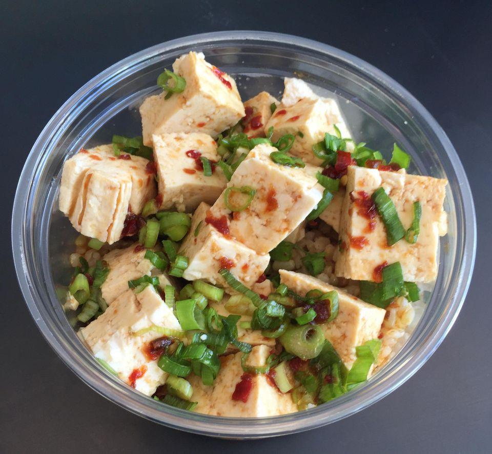 Close up of Vegan poke bowl