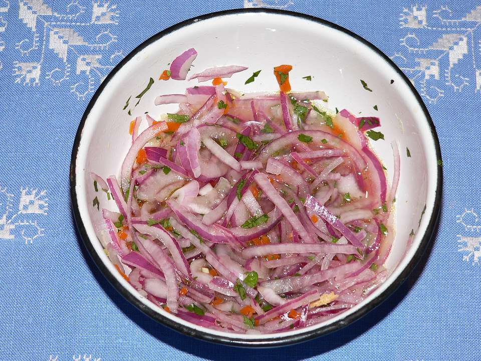 A bowl of salsa criolla
