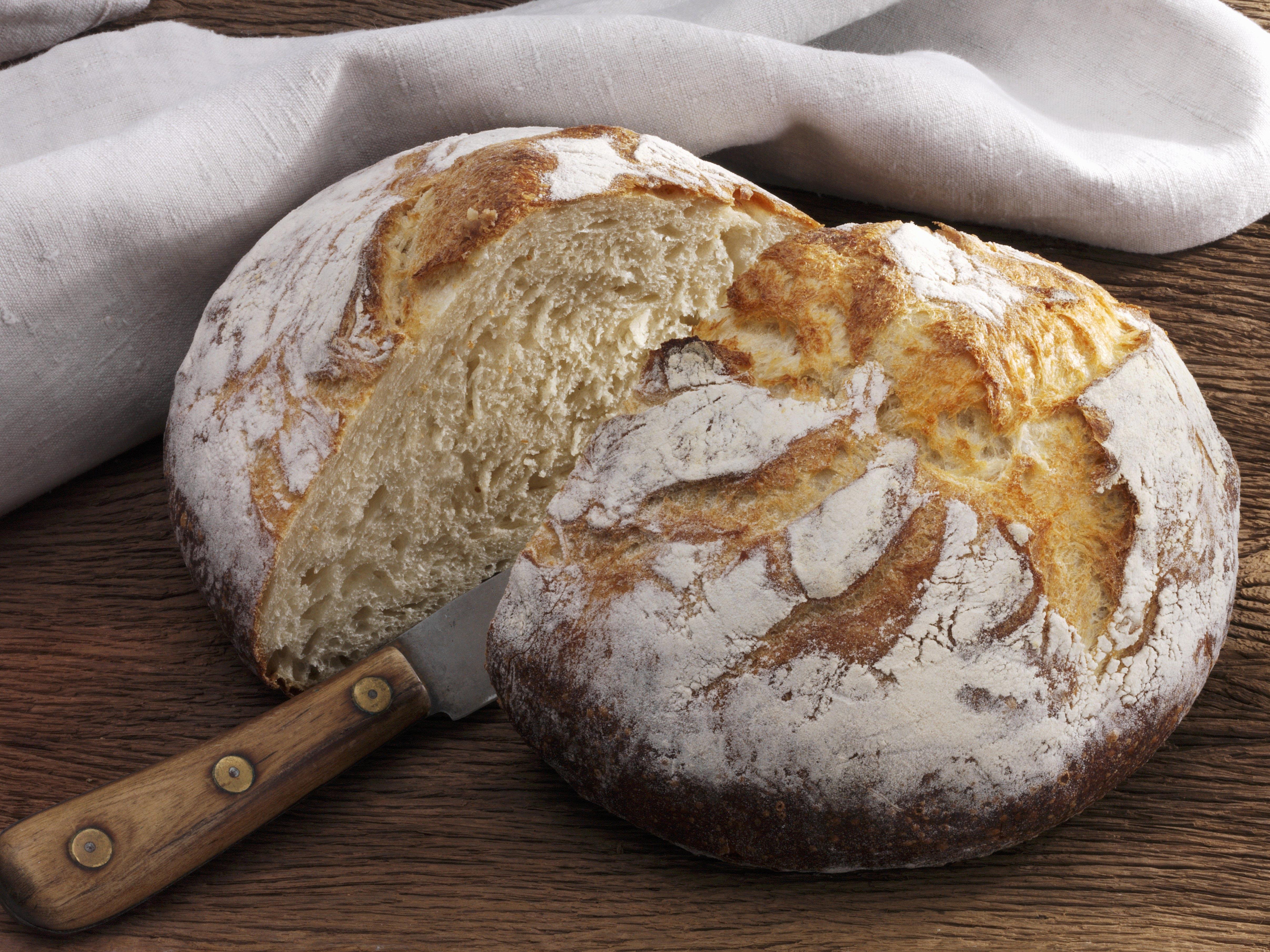 Buttermilk bread, sliced in half