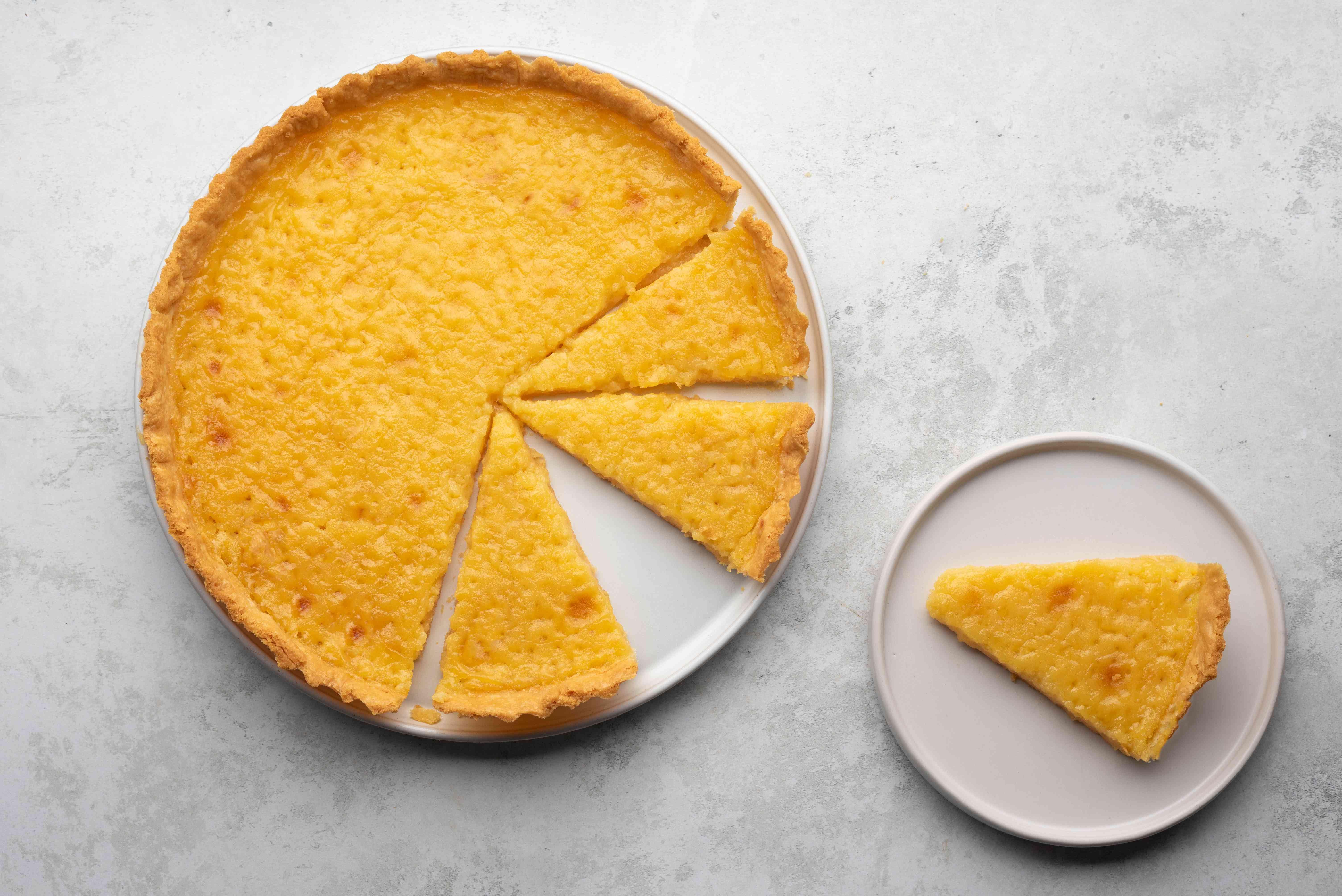 Classic French Lemon Tart, slice on a plate