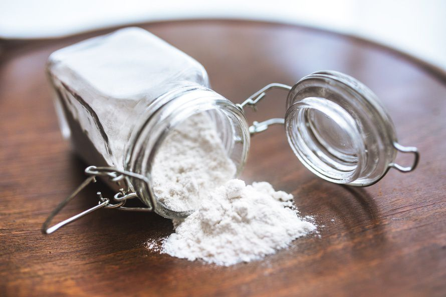 baking powder in glass container