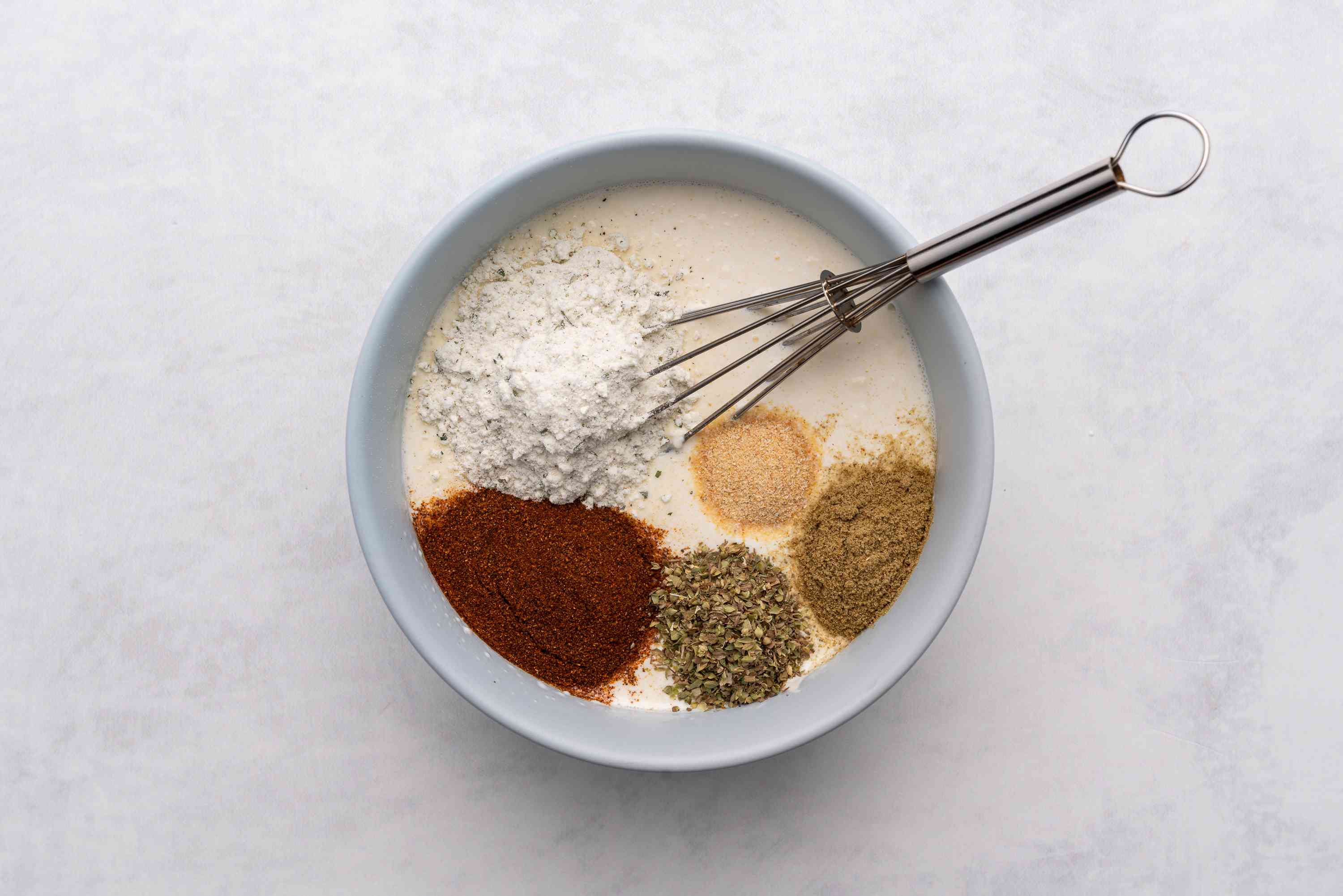 Add dry ranch dressing mix, chile powder, oregano, cumin, and garlic to the mixture in the bowl