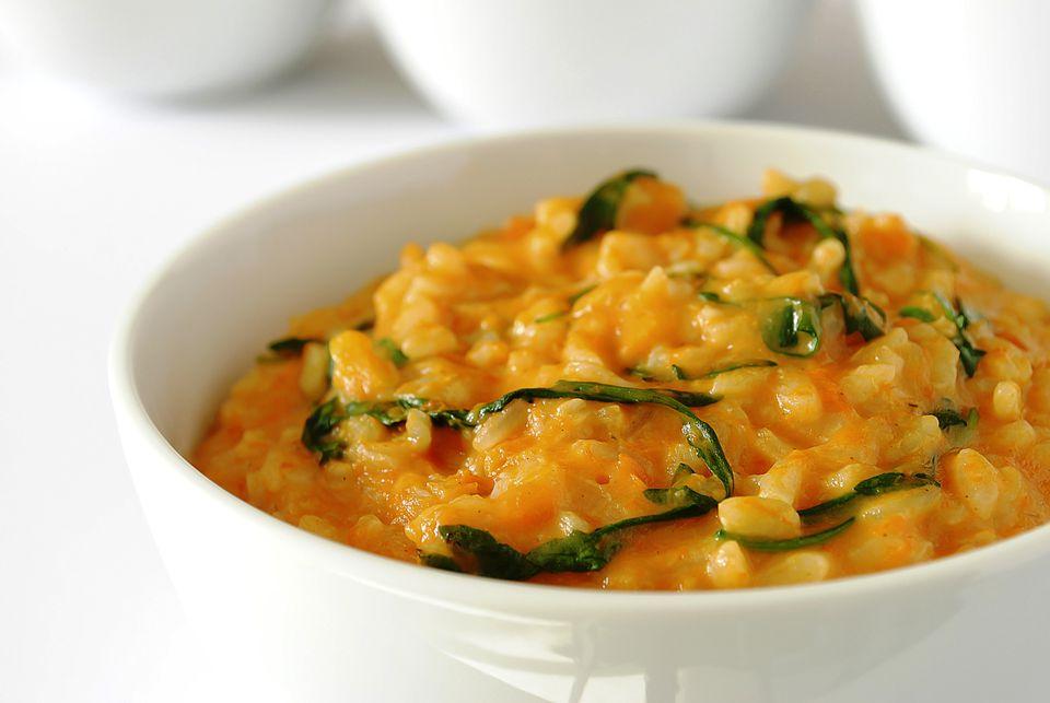 Vegetarian and vegan pumpkin risotto