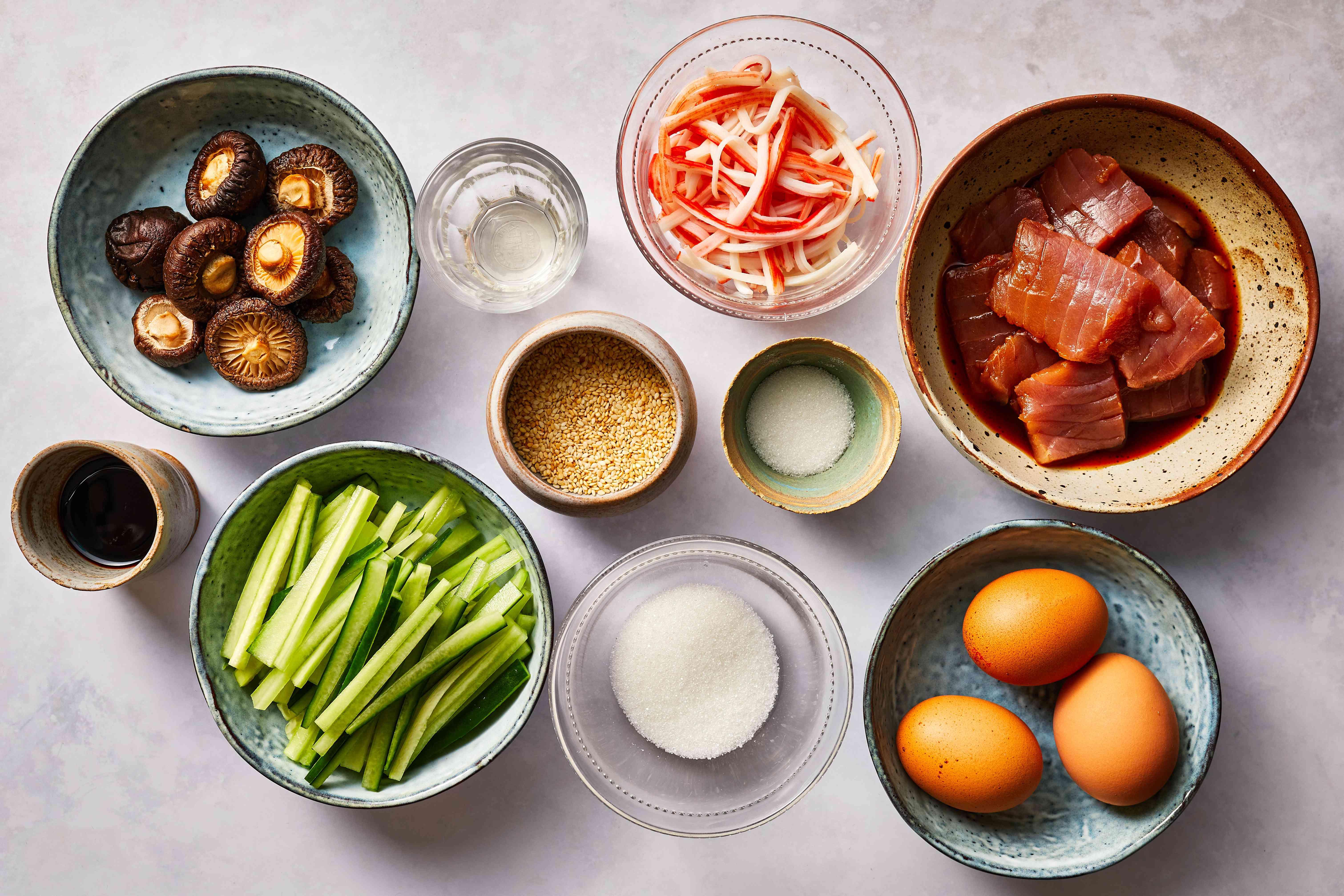 Japanese Chirashizushi ingredients
