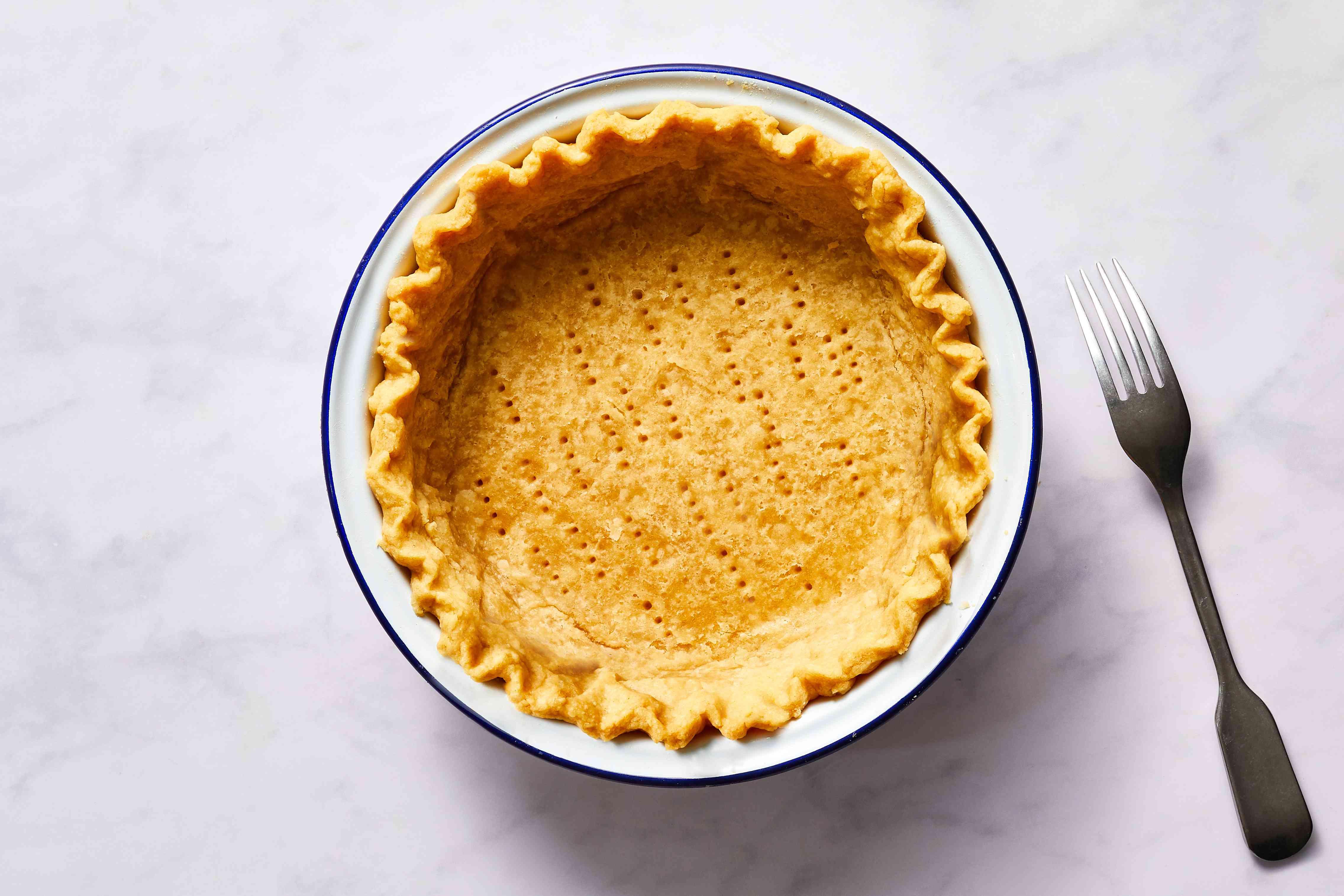 Easy Hot Water Pie Crust, pricked pie crust