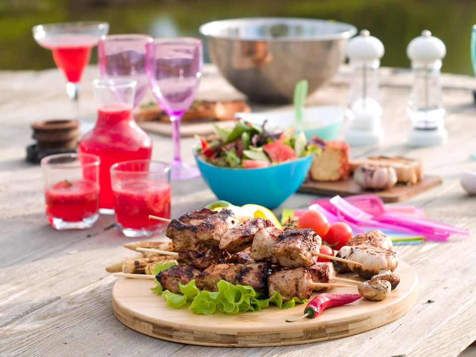 Picnic With Grilled Kebabs and Margaritas