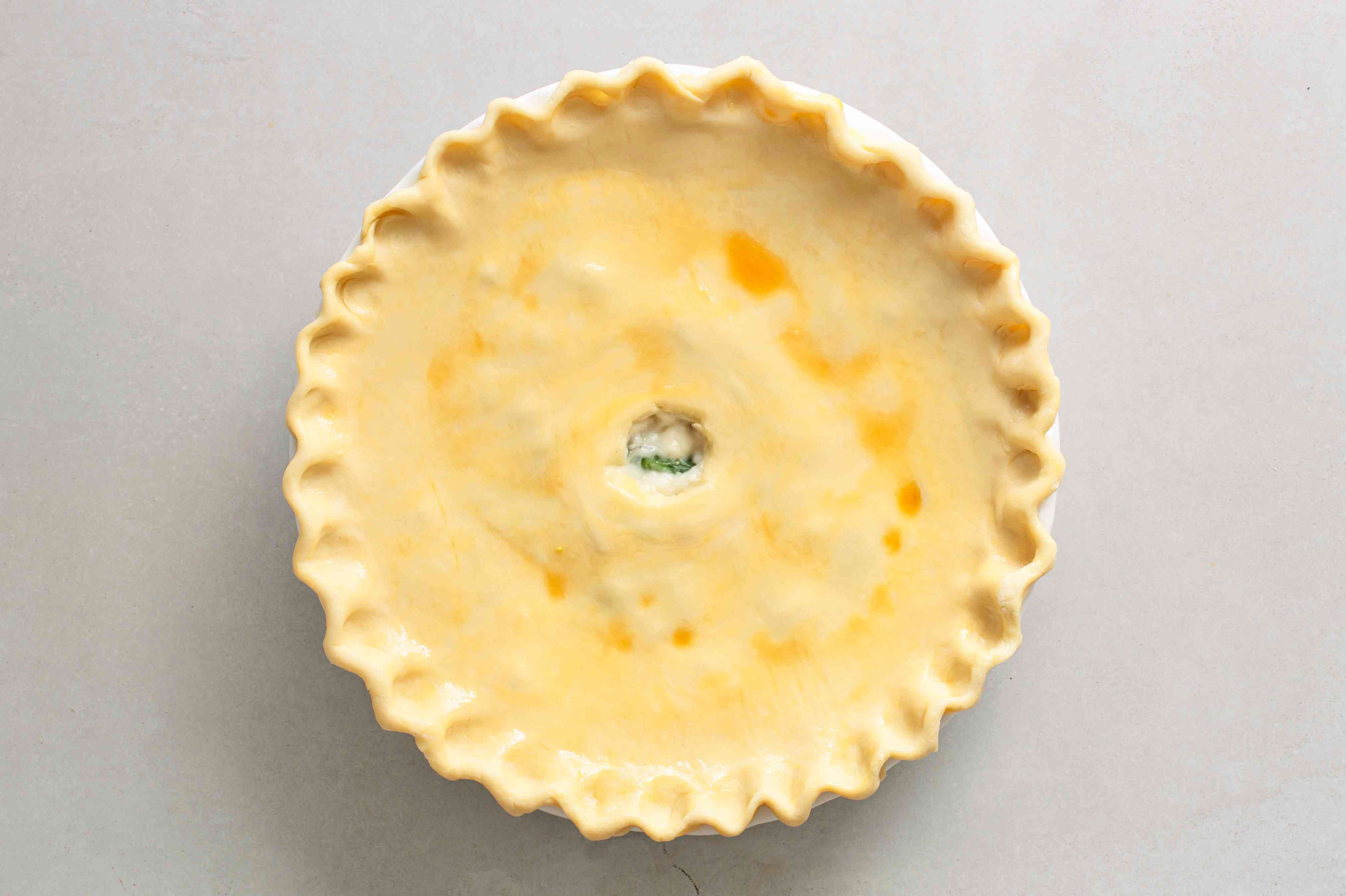 ham pie brushed with egg