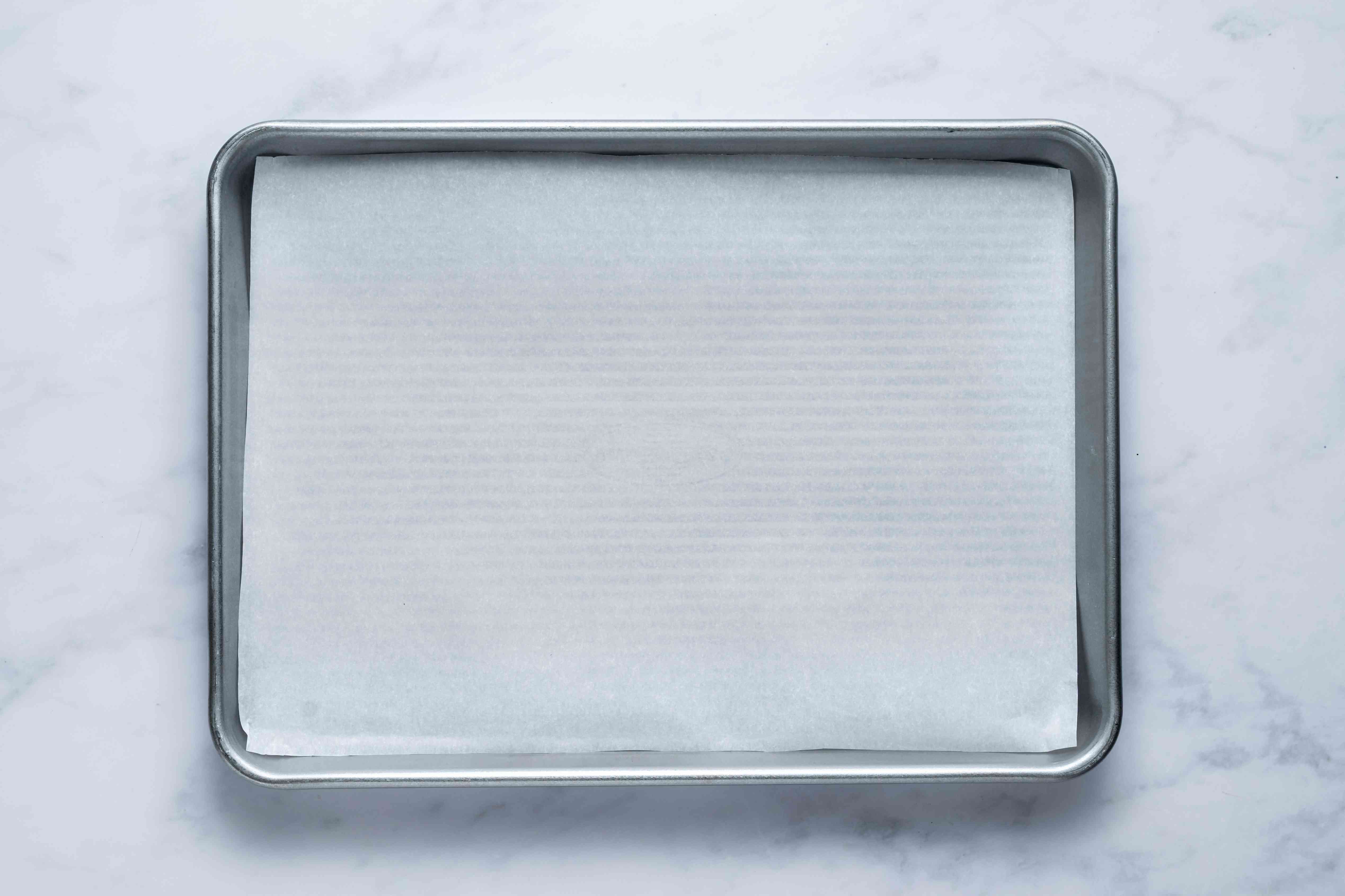 parchment paper on a baking sheet
