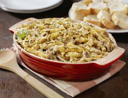 Ziti chicken casserole in a dish.