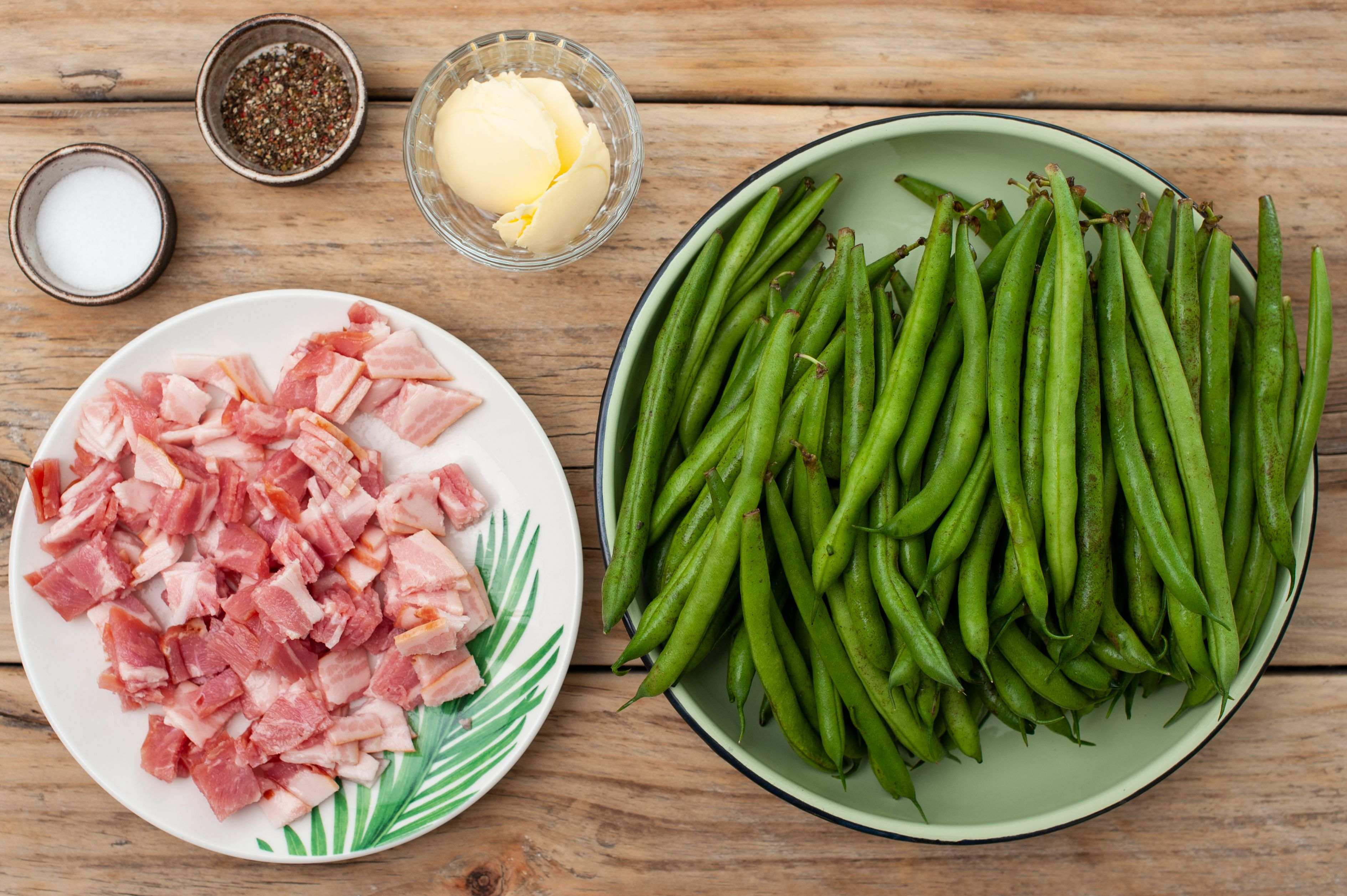 Ingredients for green bean salad