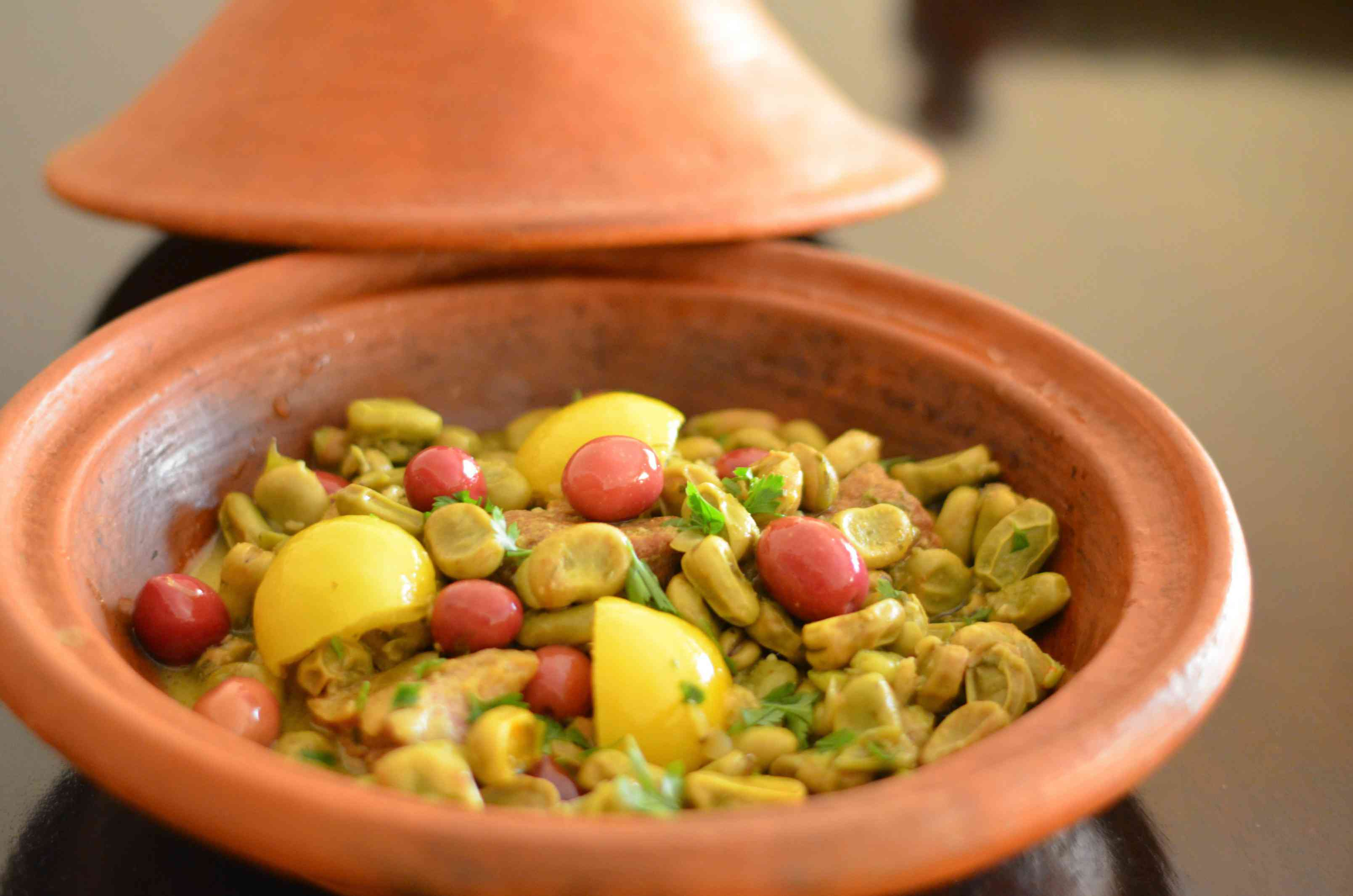 fava beans with olives and preserved lemon
