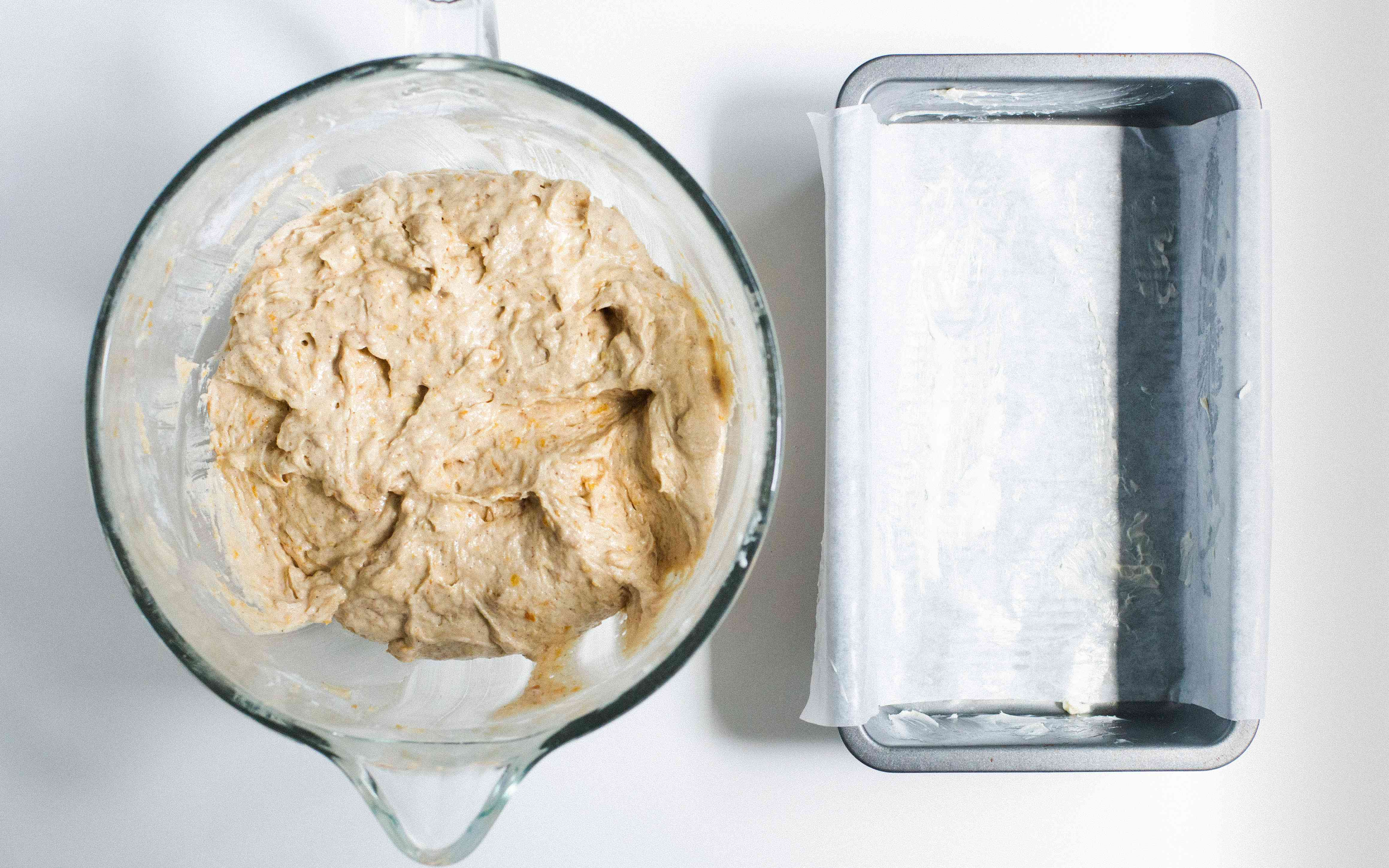 line loaf pan with parchment paper