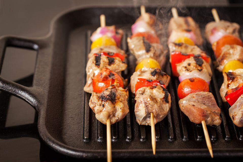 Kebab meat skewers