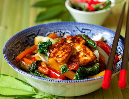 Thai Vegetable Stir-Fry With Fried Tofu