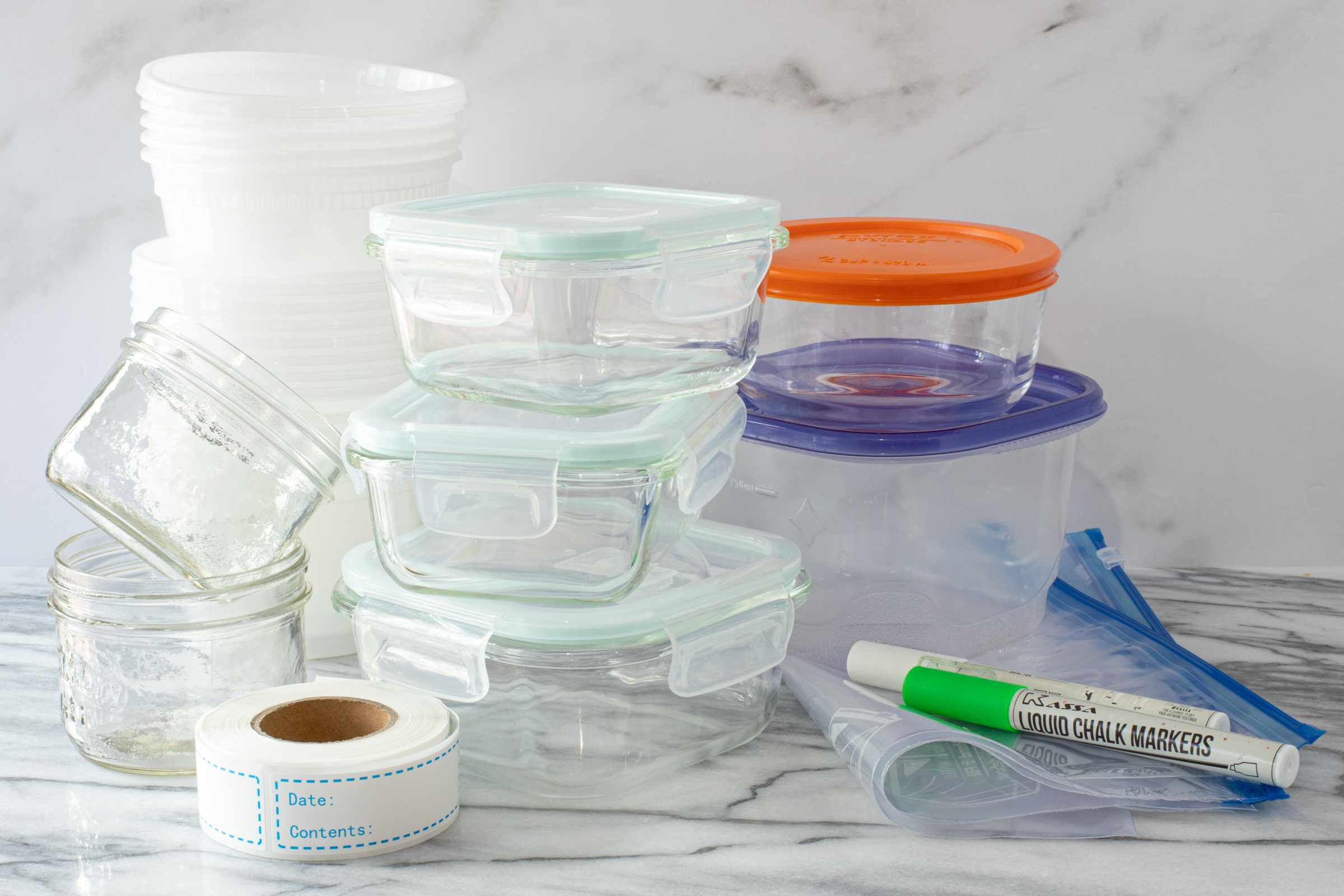 Freezer containers and labels.